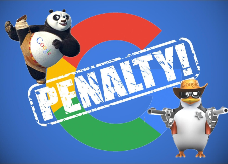 A banner with 'penalty' stamped over the Google logo